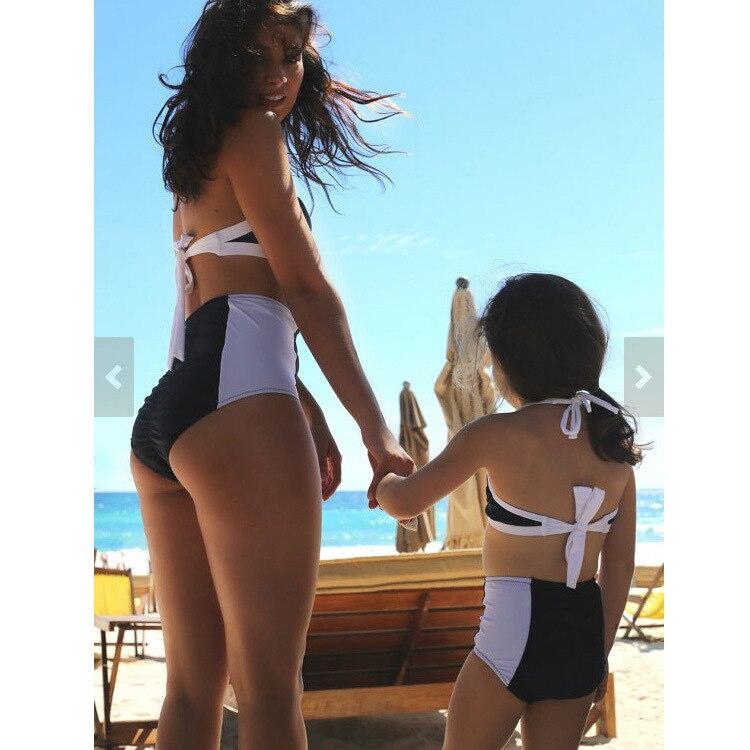 Mother & Daughter Parent And Child Swimwear Black And White Stitching Sports Bikini Small CHILDREN'S Children Two-piece Swimsuit