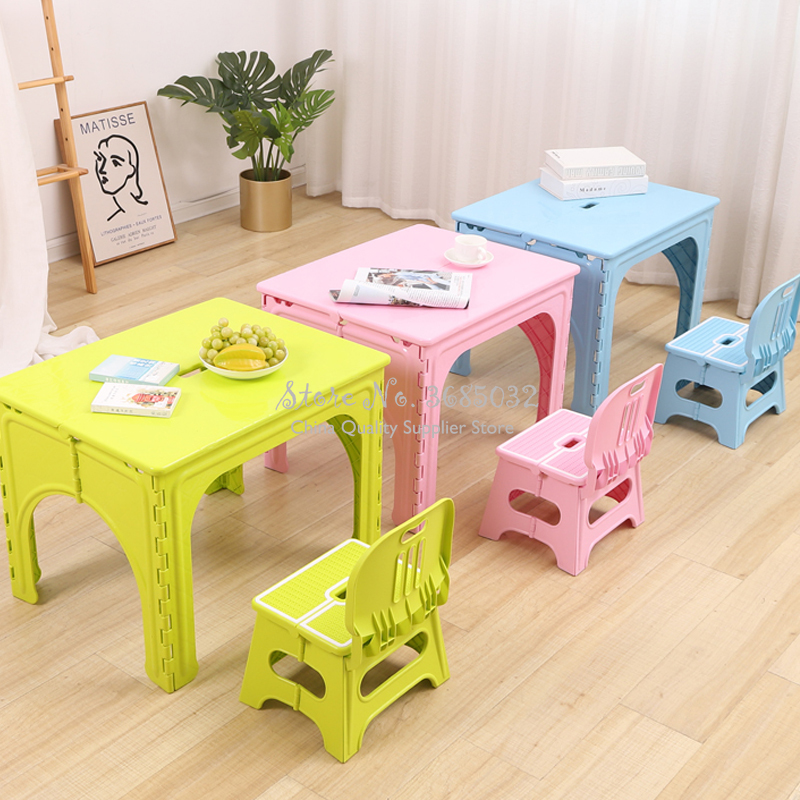 Kids Plastic Folding Table And Chairs Set Children's Home Writing Tables Outdoor Portable Foldable Desk Kindergarten Furniture