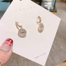 Round Shell Letter jewelry  earrings for women love letter small christmas cute gothic