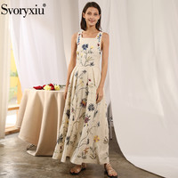 Svoryxiu Runway Sexy Summer Party Backless Maxi Dresses Women's Square Collar Flower Embroidery High End Tank Long Dress