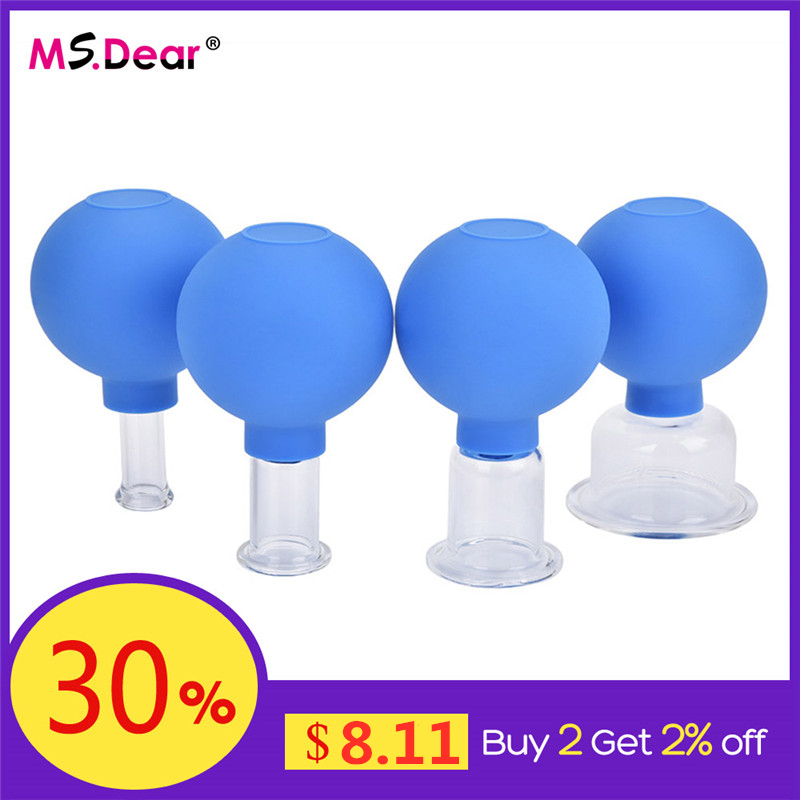 Vacuum Cupping Cups Set Kit Family Vacuum Cans Rubber Head Glass Suction Body Massage Health Care Tools Chinese Medical Therapy