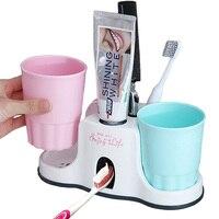 3-em-1 vácuo ventosas dispensador automático de pasta de dentes com 2 copos de lavagem e 5 grades de armazenamento titular para escovas de dentes