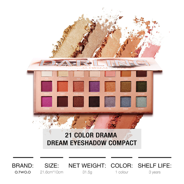 O.TWO.O Darling Eyeshadow Palletes 21 Colors Ultra Fine Powder Pigmented Shadows Glitter Shimmer Makeup Eye Shadow Palette 3