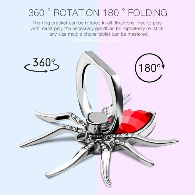 Diamond Metal Spider Mobile Phone Finger Ring Holder 360 Rotate Stand