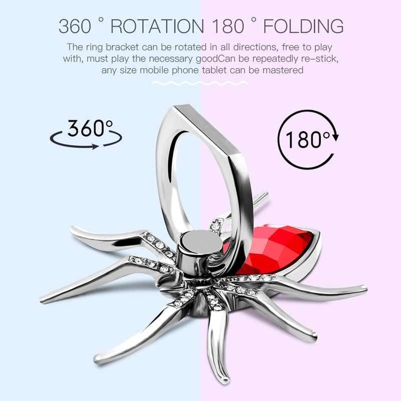 Universal Luxus Biling Diamant Metall Spinne Handy Finger Ring Halter 360 Drehen Stehen für iPhone Sumsang Huawei Xiaomi