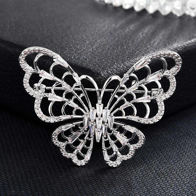新 arrivel ファッション女性立方ジルコンブローチピンセーターコートアクセサリーの羽の花昆虫美しい broches ピン錦織り