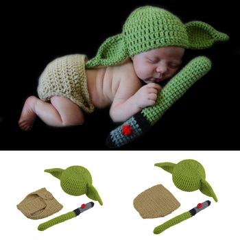 Newborn Baby Yoda Handmade Hat Beanie Infants Cartoon Costume Cosplay Props Fotografia Outfits Infant Photography Accessorie football baby hat and shorts suit hot sale baby handmade cotton costume newborns photography props infant outfits
