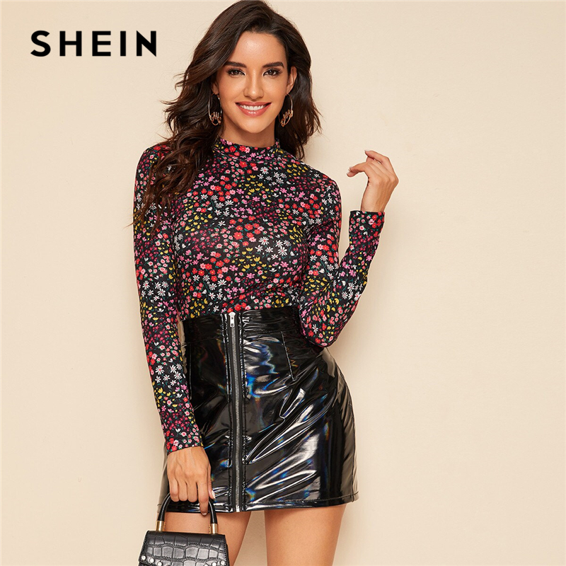 SHEIN Multicolor Mock Neck Ditsy Floral Print Top T-Shirt Women Autumn Short Sleeve Office Ladies Stretchy Slim Fit Tshirts 1