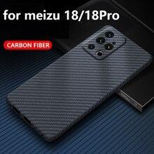 יוקרה אמיתי סיבי פחמן מקרה לmeizu 18 פרו מקרה ארמיד סיבי טלפון כיסוי מעטפת מגן דק במיוחד עבור meizu 18 מקרה