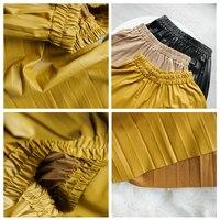 Woman Pleated Skirts 2019 Black Pu Leather Midi Skirt Elastic Waist A-line Winter Skirt Streetwear 5
