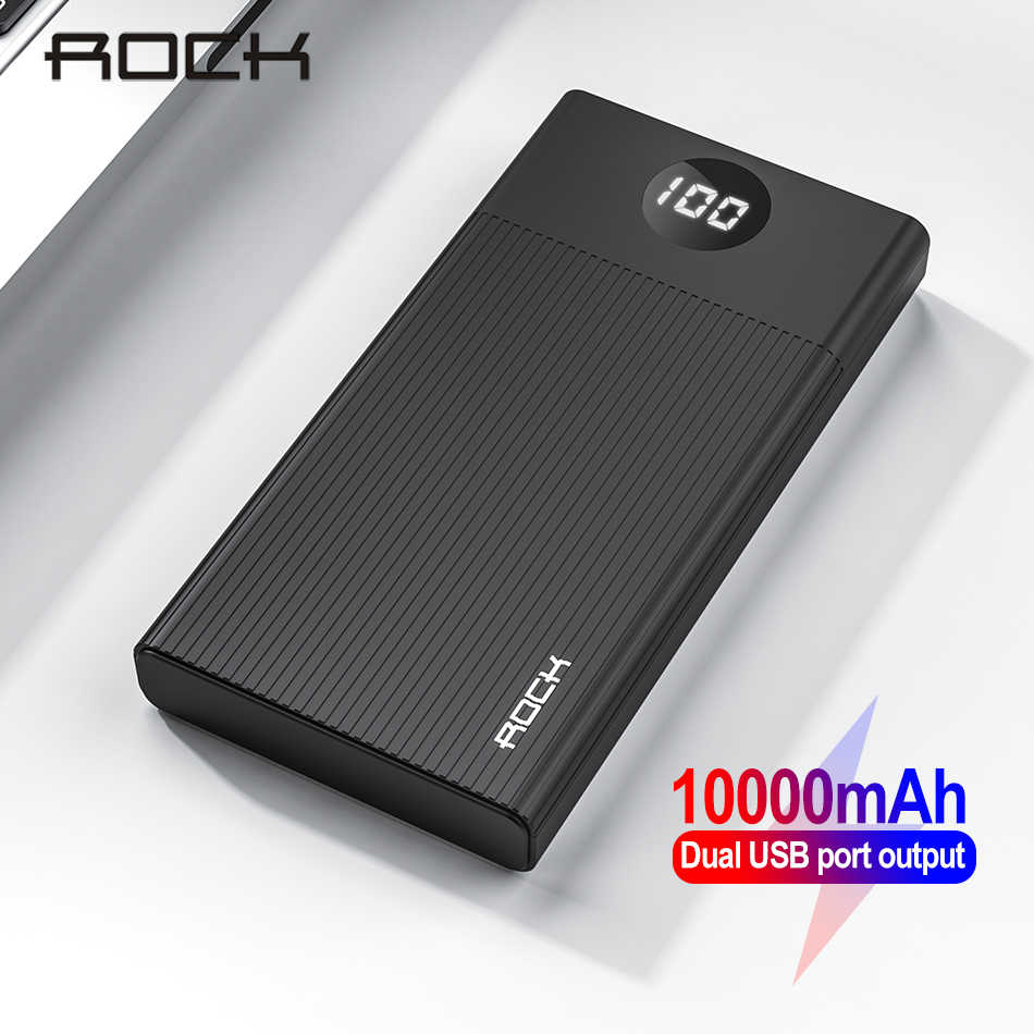 Rock Mi Ni 10000 MAh Power Bank External Battery Pack Portable 2 Usb Charger Mi Powerbank Poverbank untuk iPhone 11 xr Xiao Mi Mi
