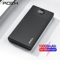 Rocha mini 10000 mah power bank bateria externa pacote portátil 2 usb carregador mi powerbank poverbank para iphone 11 xr xiaomi mi Baterias Externas     -