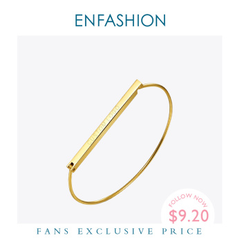 gold silver cuff upper arm bracelet bangle for women Enfashion Personalized Custom Engrave Name Flat Bar Cuff Bracelet Gold color Bangle Bracelet For Women Bracelets Bangles
