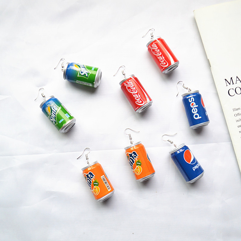 Unique Design Creative Geometry DIY Jewelry Children Gifts Personalized Simulation Summer Can Cool Cola Drink Funny Earrings