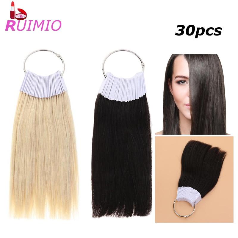 30pcs Hair Color Rings Human Hair Swatches Testing Color Samples Real Hair Swatches Color Cards Hair