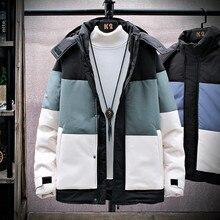Warm Thick Jacket Men Winter Casual Solid Patchwork Hooded Parkas Coats Mens Outwear Jackets Windproof Windbreaker Big Pocket