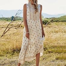Dress Long-Skirt Women's Fashion Bohemian Sleeveless A-Line Holiday Round-Neck Round-Neck