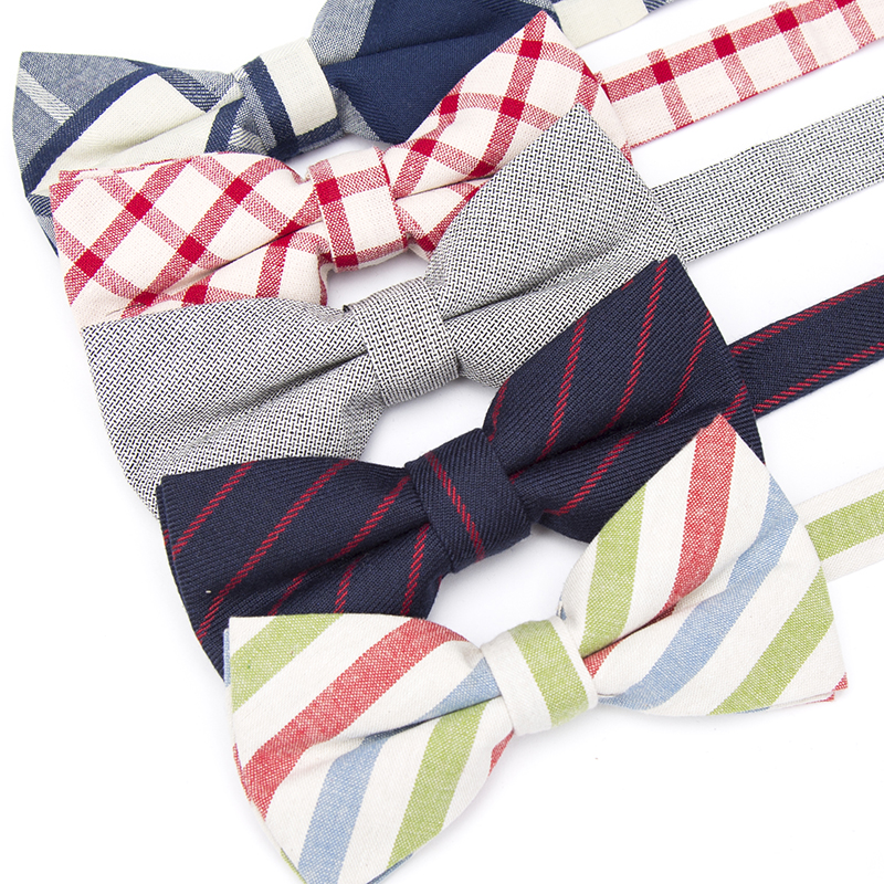 Men Bow Tie Stripe Cotton Fashion Necktie Paisley Business Wedding Solid Ties For Men Groom Party Shirt Gift Accessories Bowtie