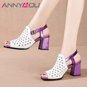 ANNYMOLI Slingbacks Shoes Natural Genuine Leather Square Heel Pumps Peep Toe High Heels Cutouts Buckle Strap Ladies Footwear 40