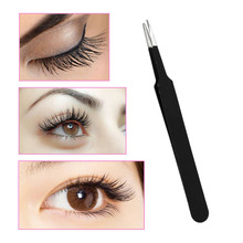 1pc Makeup False Eyelash Assist Eyelash Tweezers Black Straight Head Grafting Eyelash Blossom Tweezers MJ0132