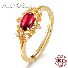 ALLNOEL 925 Sterling Silver Rings Natural Moissanite Garnet Gemstone 14K Gold Luxury Wedding Ring Gift Retro Wholesale Lots Bulk(China)