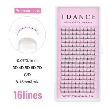 TDANCE 16 Lines Premade Volume Fans 3d/4d/5d/6d/7D Lash Russian Volume Eyelash Extensions Pre made Lash Extension Faux Mink Lash 1