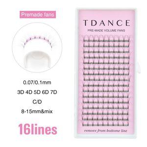 Image 2 - TDANCE 16 Lines Premade Volume Fans 3D/4D/5D/6D/7D Lash Russian Volume Eyelash Extensions Pre made Lash Extension Faux Mink Lash