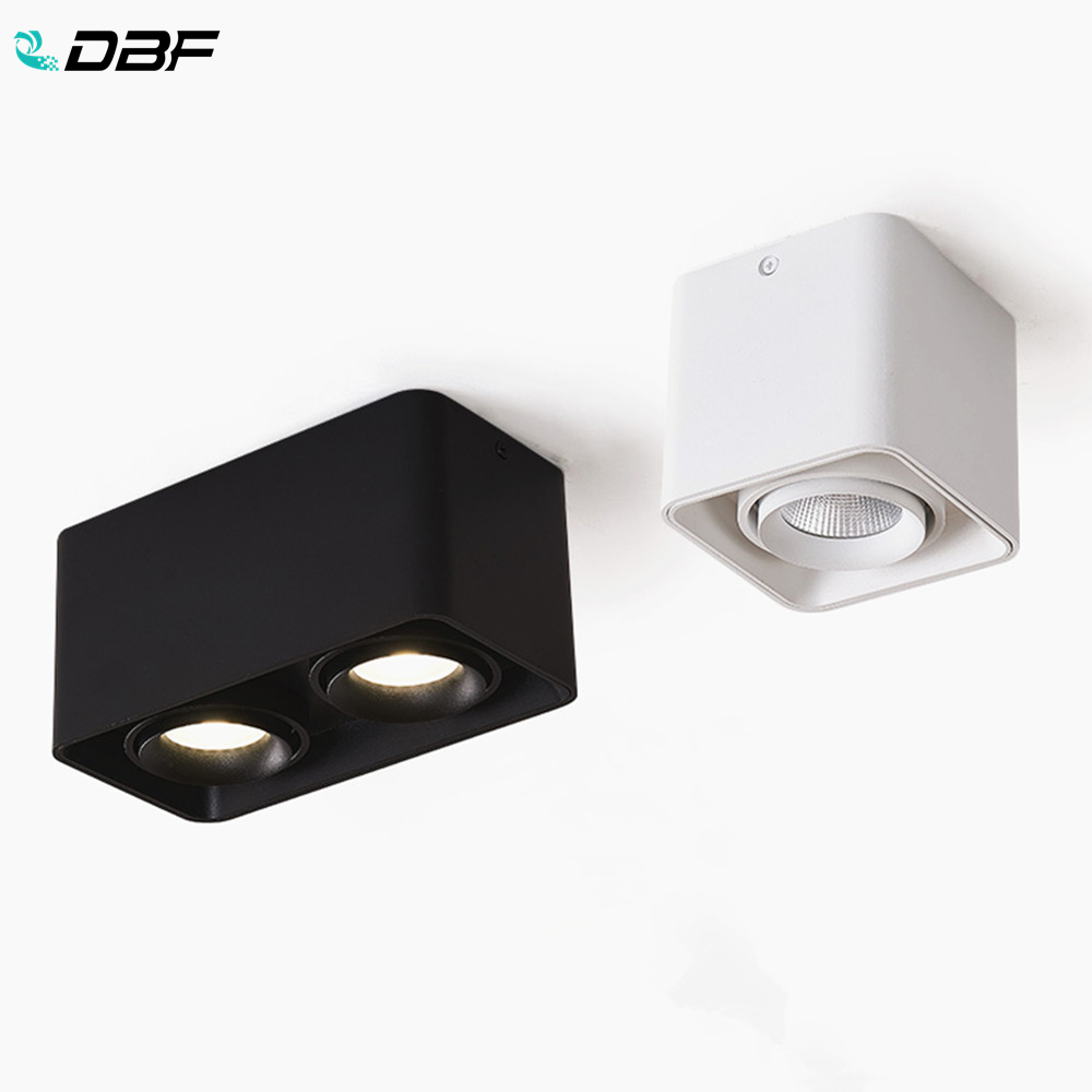 [DBF]Square White/Black No-Cut Surface Mounted Ceiling Downlight High Power 10W 12W 20W 24W Ceiling Spot Light 3000K/4000K/6000K