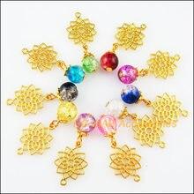 20 nouveau Lotus Flower Charms Antique Bronze Ton Connecteurs Pendentifs 14x20mm