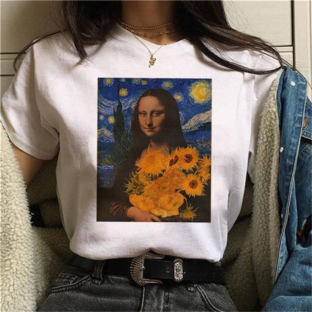 ERNESTNM Summer Funny Printed Women T Shirt Short Sleeve Ladies T-shirt Soft Short Sleeve Tee Oversized Female Clothing