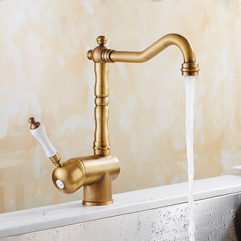цена на Kitchen Faucets Antique Brass Single Handle Mixer Sink Tap Curved Hot and cold Water Taps Bathroom Basin Water Faucet Deck Mount