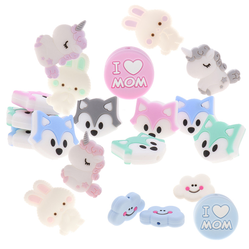 Fkisbox 5pc Rodent Silicone Unicorn Baby Teether Beads Flower Mordedor BPA Free Infant Chewing Teething Necklace Bunny Cloud Fox