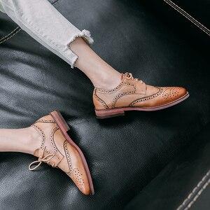 Image 4 - ผู้หญิงรองเท้าหนังOxfordรองเท้าผู้หญิงรองเท้าผ้าใบLady Brogues Vintage Casualรองเท้ารองเท้าผู้หญิง 2020 สีเขียวสีน้ำตาล