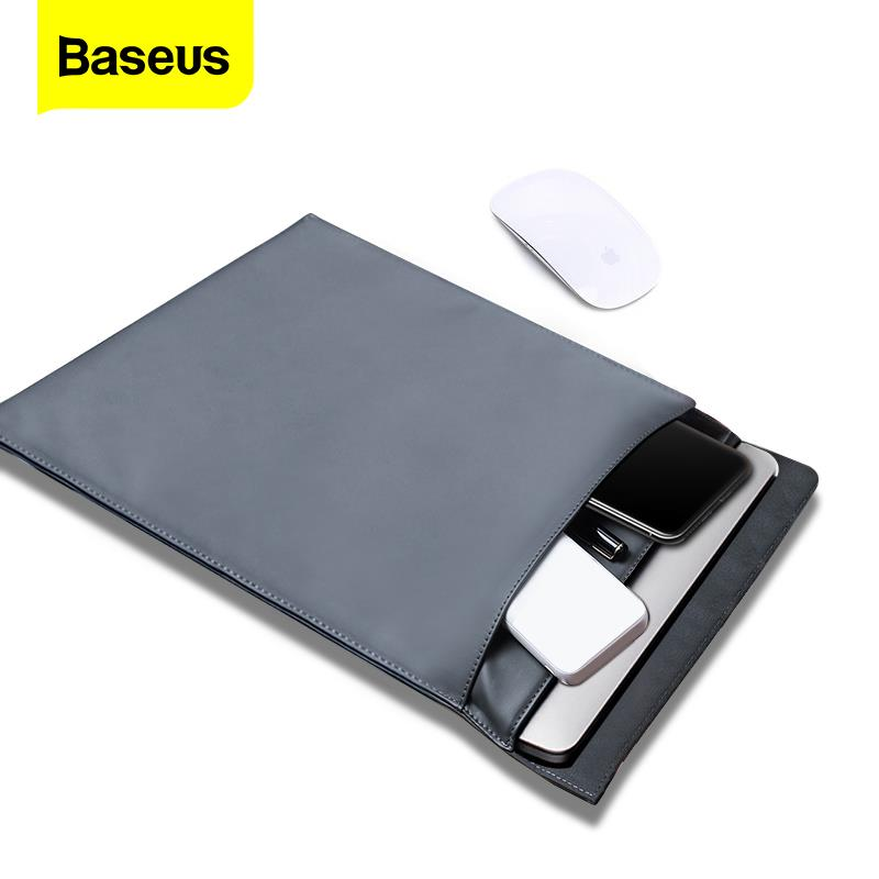 Baseus Laptop Bag Case For Macbook Air Pro 13 14 15 15.6 16 Inch Mac PU Leather Sleeve Cover For Notebook Computer Coque Fundas