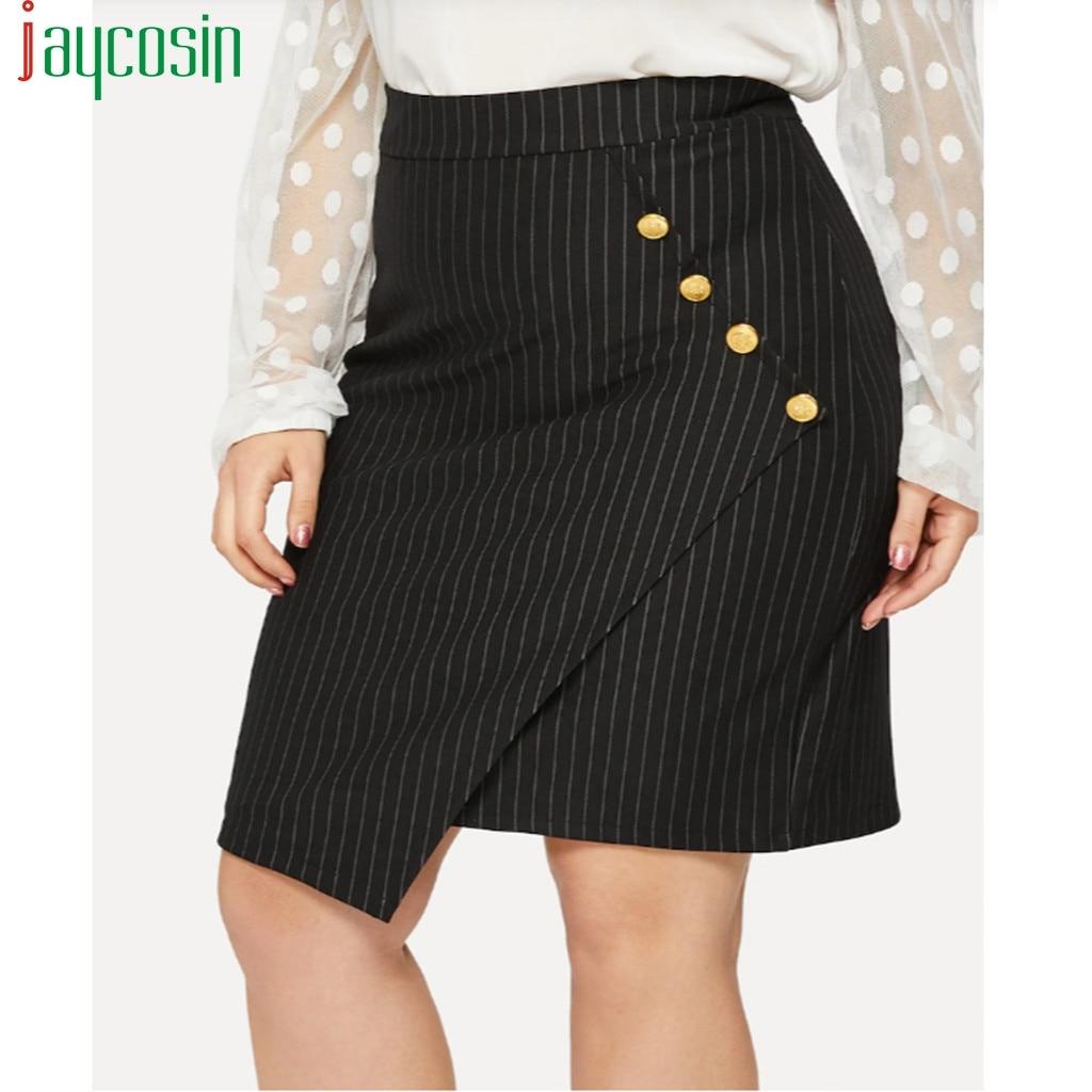 Women Office Skirt Cotton Linen Irregular Striped Buttons Fashion Female Loose Elegant Skirt Breathable Ladies Plus Size Skirt
