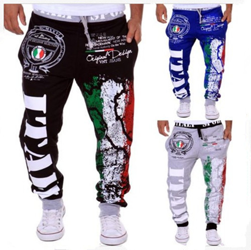 AliExpress Hot Selling MEN'S Sports Pants Italy National Flag Printed Design Men Casual Athletic Pants