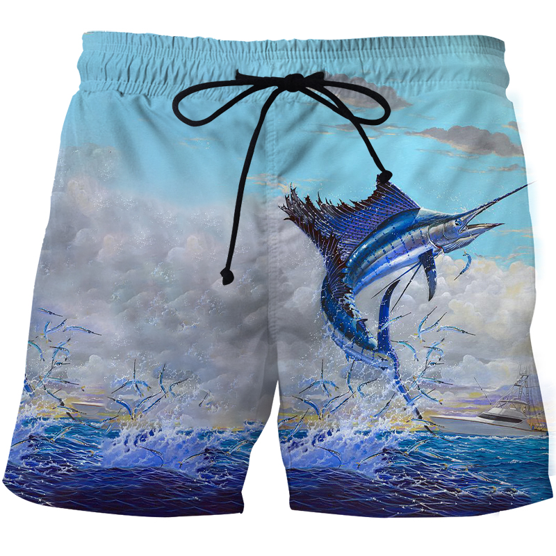 Summer Print 3d Fishing Shorts For Men Swimming Trunks Male Fast Dry Surf Short Quick Dry Outdoor Sports Board Pant for Fishing