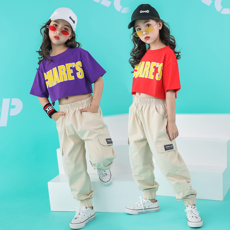 Children Ballroom Dancing Clothes Cool Hip Hop Clothing Loose Casual Pants Crop Top T Shirt For Girls Dance Costumes Dancewear