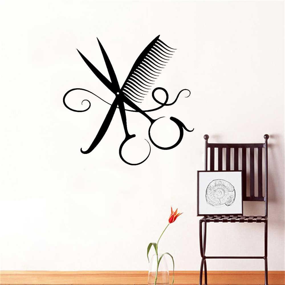 Moda berber dükkanı duvar sanatı yapışkanı duvar çıkartmaları saç kesimi odası Pvc duvar kağıdı duvar berber saç Poster duvar çıkartmaları