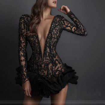 Long Sleeves Black Homecoming Dresses With Ruffles Sheer Short Full Beadings Breathtaking Deep V-Neck Party Wear