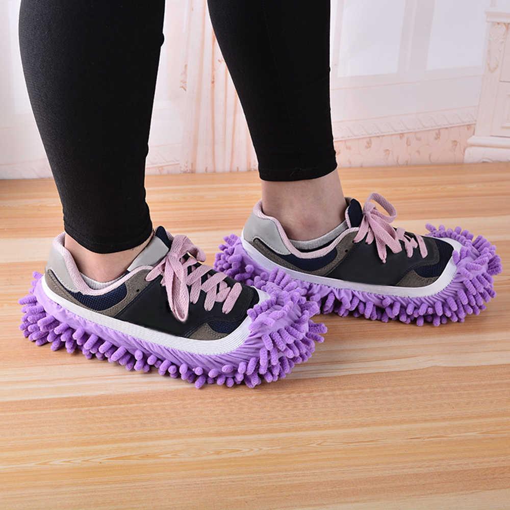 Nihlsfen Fundas de Zapatos de Microfibra de Chenilla multifuncionales Tapones de fregona para Zapatos de Arrastre Perezoso Herramientas para el hogar Zapatillas limpias