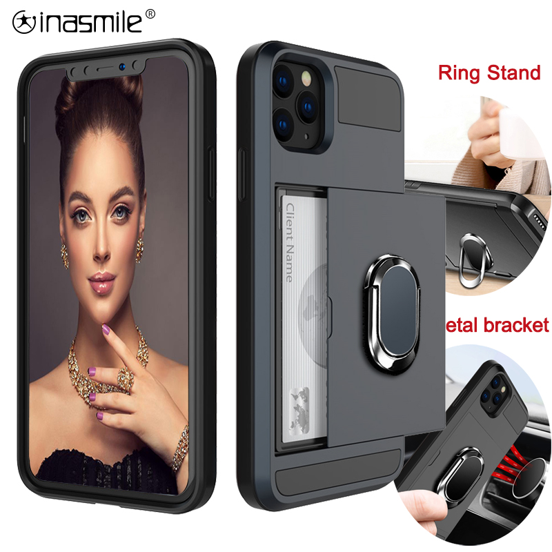 Nice Slide Card Shockproof Phone Case For iPhone 11 X XR XS Max Pro Ring Stand Holder For iPhone 11 7 8 6 6S Plus Case Cover image