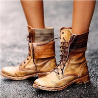 2019 New Lace-up Winter Motorcycle Boots Women British Style Fashion Boots Gothic Punk Low Heel Bule Boot Women Shoe Plus Size