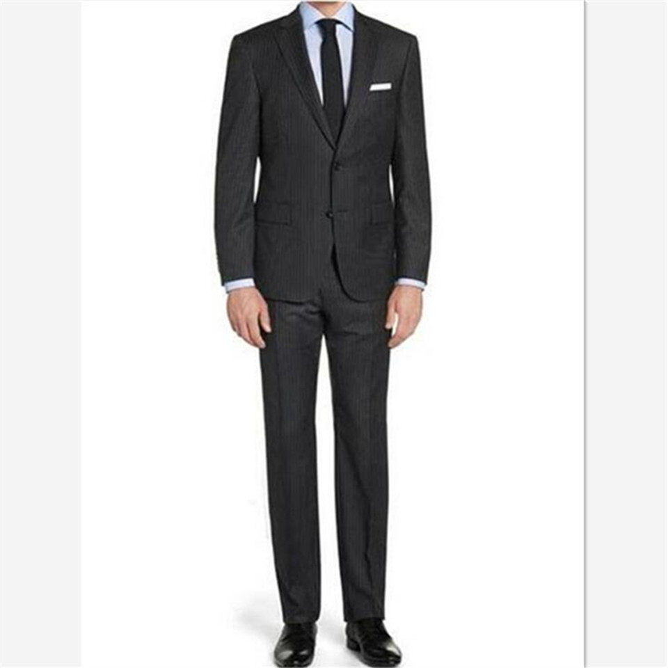 New Men's Suit Smolking Noivo Terno Slim Fit Easculino Evening Suits For Men Black Pinstripe Tuxedos Single Breasted Suit(Jacket