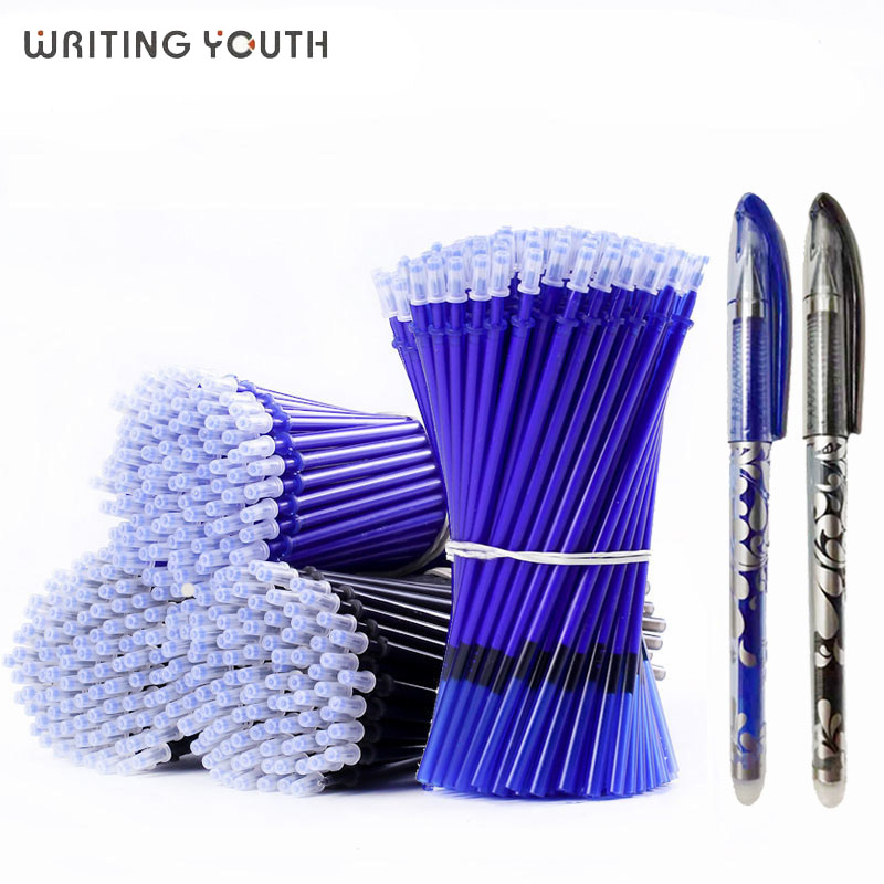 Gel Pen 0.5mm Erasable Washable Handle Erasable Pen Refill Rod Blue Black Ink School Stationery Office Writing Tool