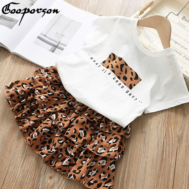 Girls Clothes Set 2019 Summer White Shirt + Leopard Cake Skirt 2 Pieces Necklace Sets  Kid Basic Casula Cotton Clothing Suit