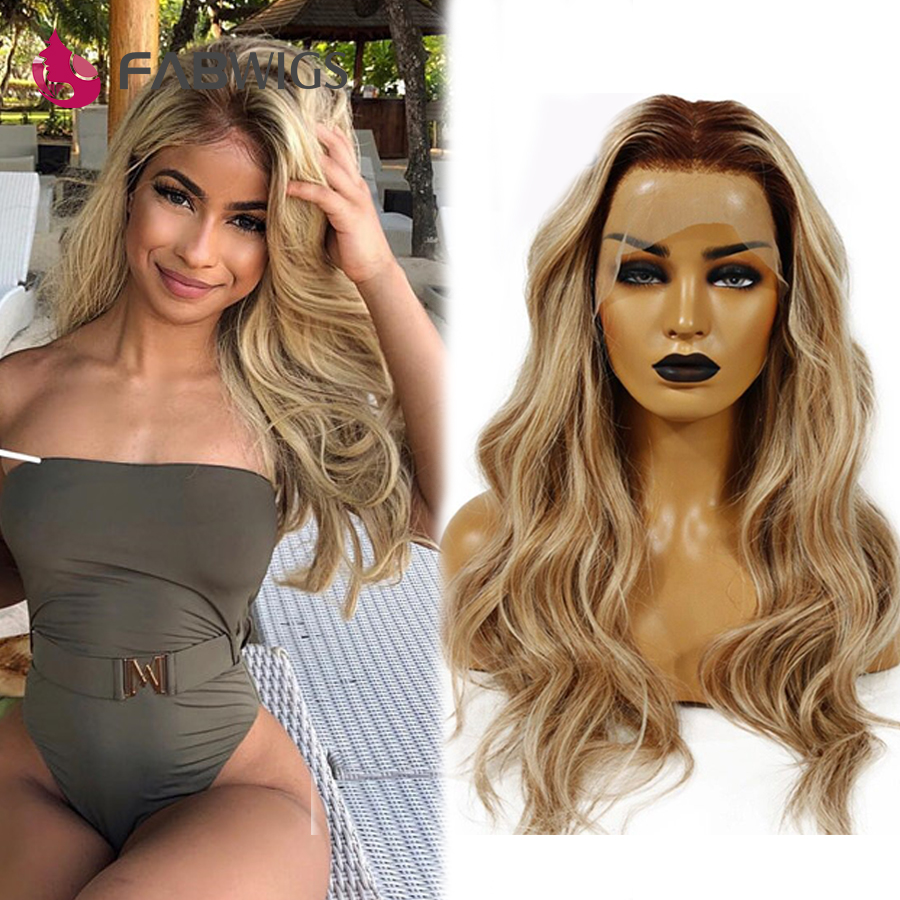 Fabwigs 150% Density T4/27/613 Blonde Full Lace Human Hair Wigs Brazilian Remy Ombre Highlights Lemi Color Lace Wigs Deep Part