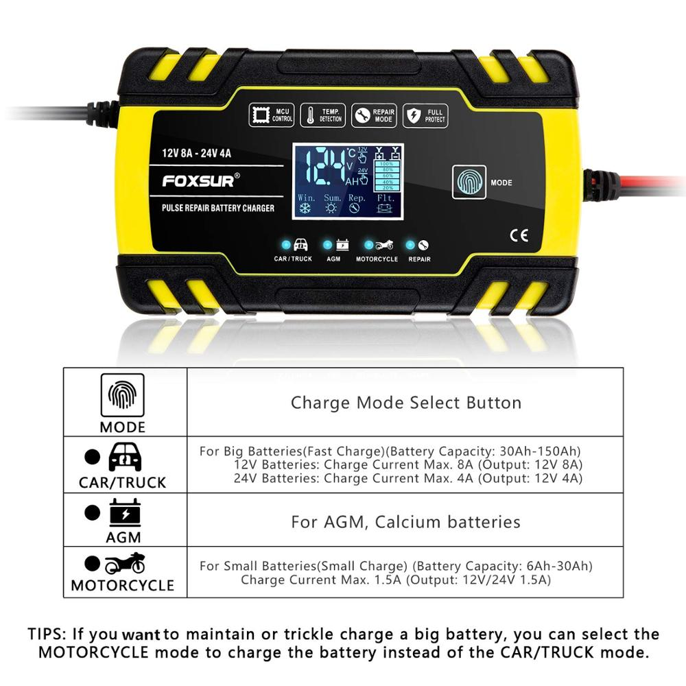 Car Battery Charger 12V 8A 24V 4A Pulse Repair Model LCD Touch Screen Display For Motorcycle Car AGM GEL WET Lead Acid Battery