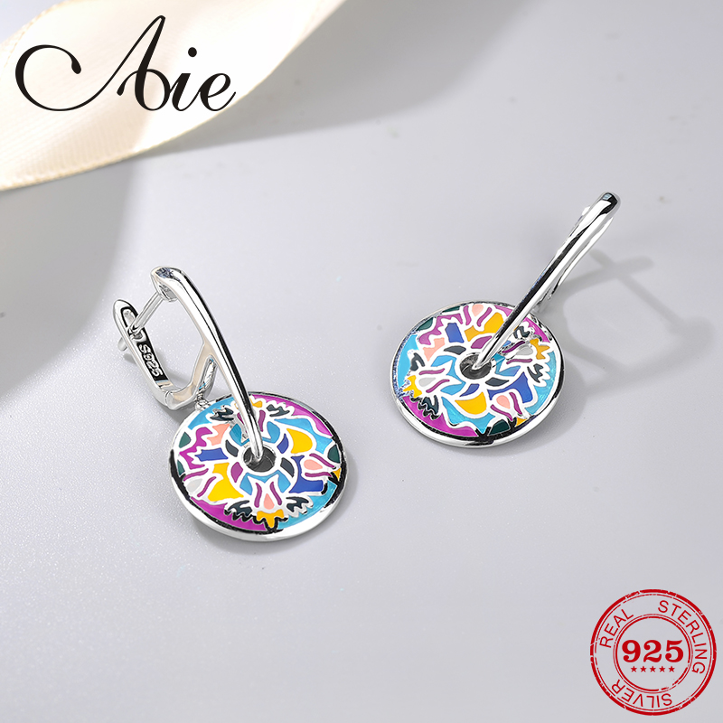 DIY gift 925 Sterling Silver fashion like abstract flower pattern colourful Enamel fine Dangle Earring Party Jewelry