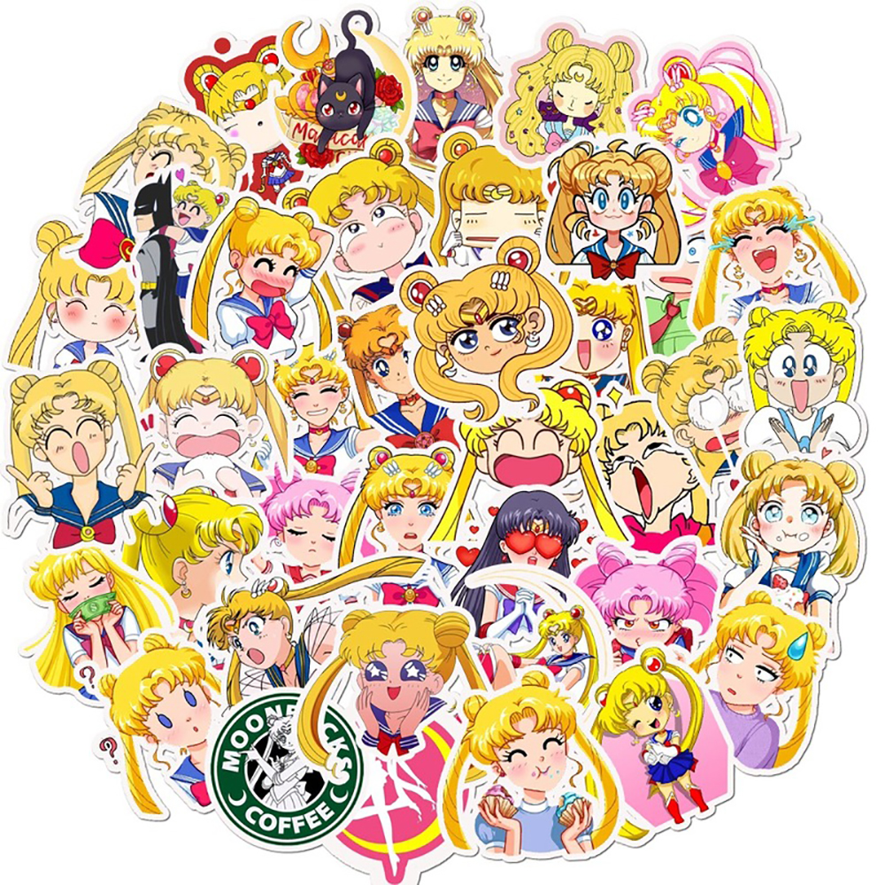 10/30/50PCS Sailor Moon Anime Girl Stickers Waterproof Snowboard Laptop Luggage Fridge Guitar Fun For Kid Toy Graffiti Stickers